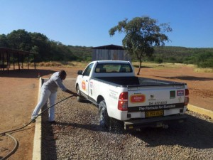 Vehicle spray for biosecurity
